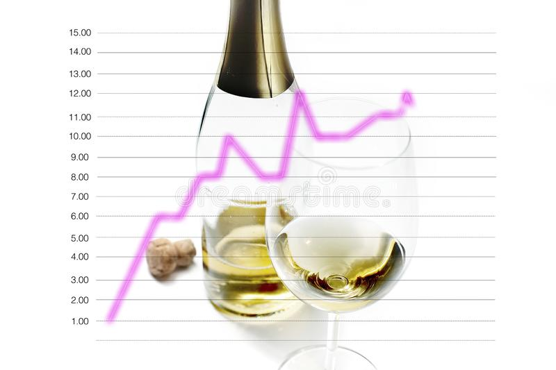 Wine glass and bottles with cork. Line graph isolated in the concept of marketing strategy and business development. Wine glass and bottles with cork blurred stock photo