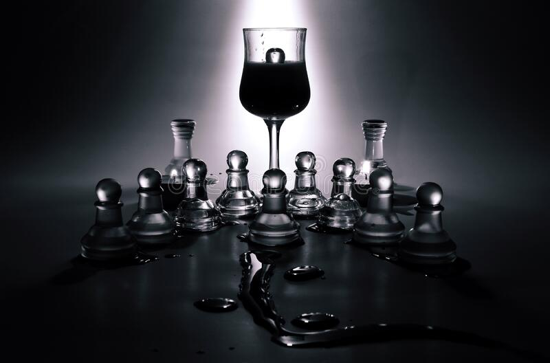 Wine Glass And Glass Chess Pieces Free Public Domain Cc0 Image