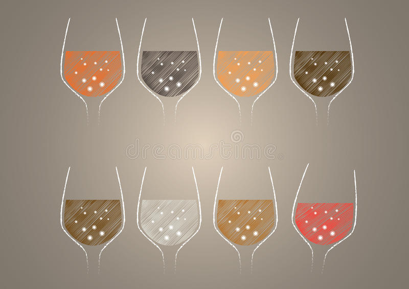 Wine glass design vector. A wine glass is a type of glass stemware that is used to drink and taste wine. It is generally composed of three parts: the bowl, stem stock illustration