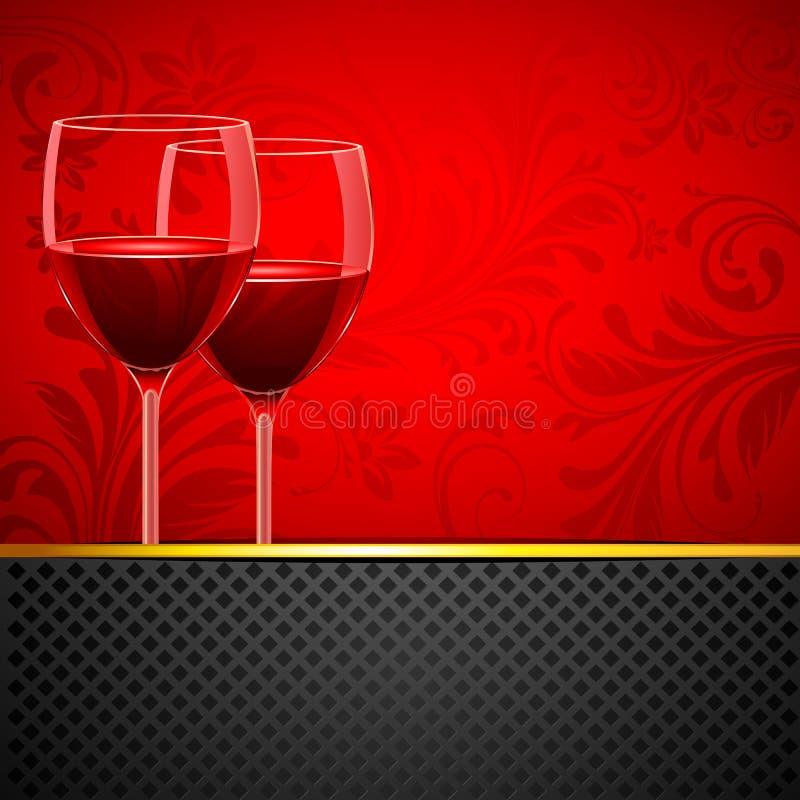Download Wine Glass On Floral Background Stock Vector - Illustration of elegance, colorful: 21790568