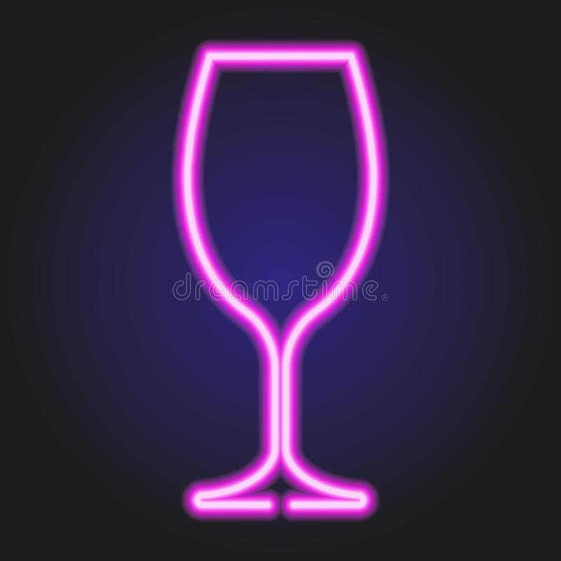 Wine glass glowing pink neon of vector illustration. Wine glass glowing pink neon on dark of vector illustration stock illustration