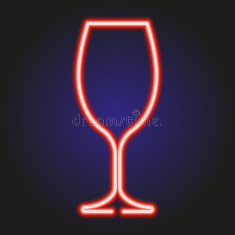 Wine glass glowing red neon of vector illustration. Wine glass glowing red neon on dark of vector illustration royalty free illustration