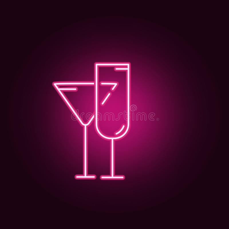 Wine glass line neon icon. Elements of Kitchen set. Simple icon for websites, web design, mobile app, info graphics royalty free illustration