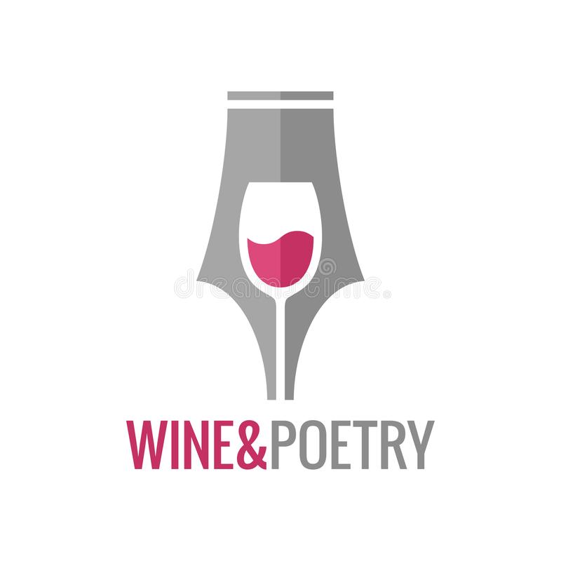 Wine glass pen concept. Wine and poetry logo. On white background 8 eps royalty free illustration