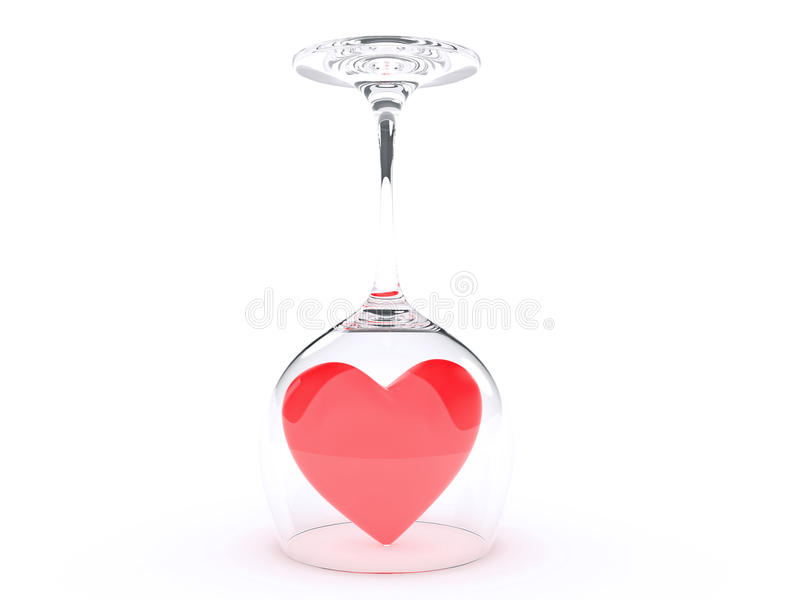 Wine Glass with Red Hearts on Valentine's Day royalty free illustration