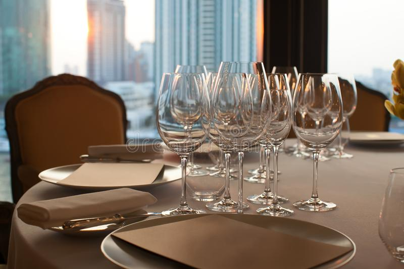 Wine Glass Set Up On Dinner Table In The Restaurant. Stock Image ...