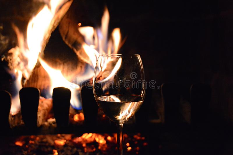 Wine Glass, Stemware, Flame, Red Wine stock photo