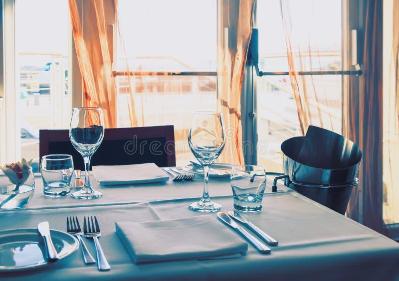 Wine glass, summer restaurant stock images