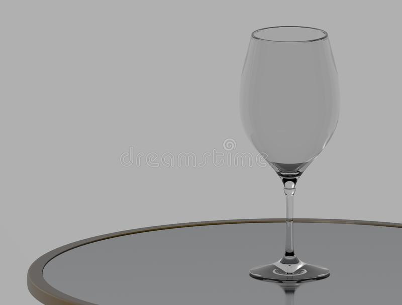 Wine glass on the table. 3d Rendering royalty free illustration
