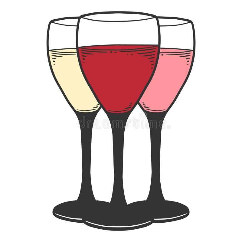 Free Wine Glass. Vector Concept In Doodle And Sketch Style Royalty Free Stock Image - 154526496