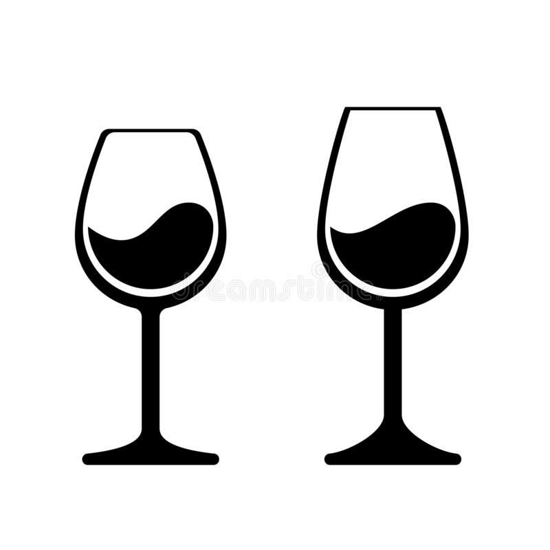 Wine glass vector icons. Isolated wineglass alcohol beverage sign stock illustration