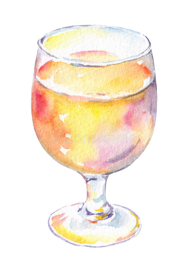Wine glass with white or pink vine. Watercolor vector illustration