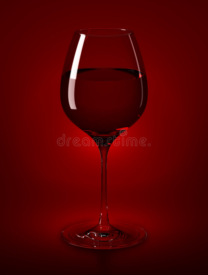 Wine Glass & Wine. High Resolution rendered wine glass filled with red wine