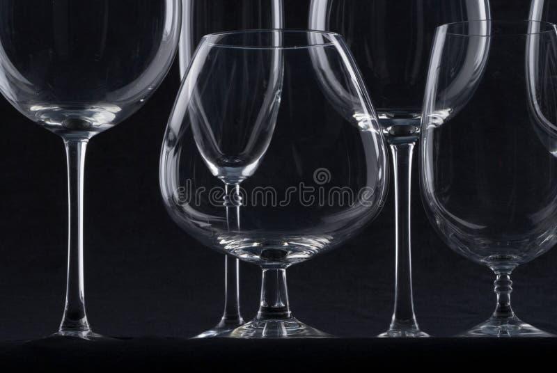 Wine glasses. Empty glasses fo wine at black background stock image