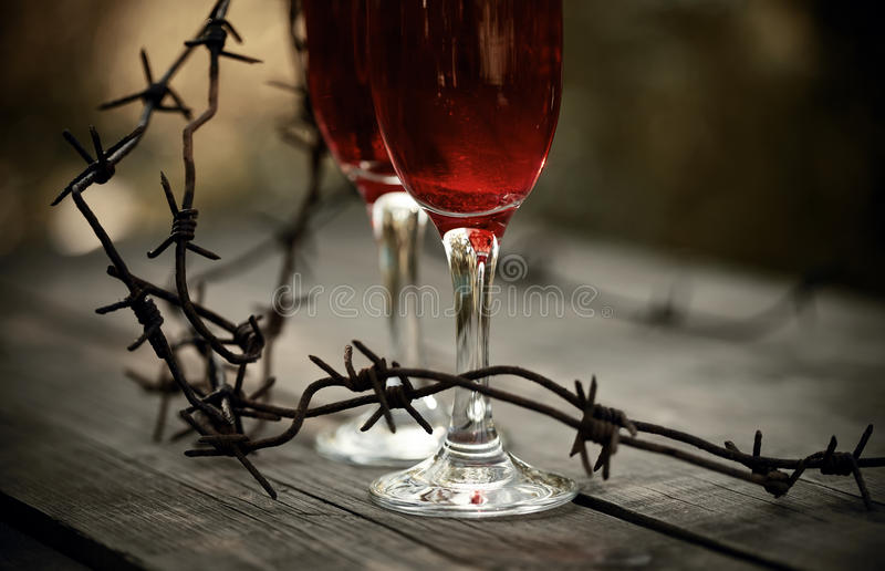 Wine in glasses and a barbed wire. stock photography