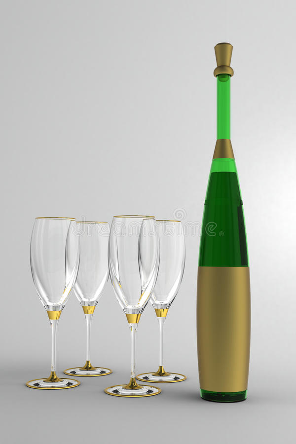 Wine glasses and bottle. With gold label without a name and a gold cap, against a plain background stock photography