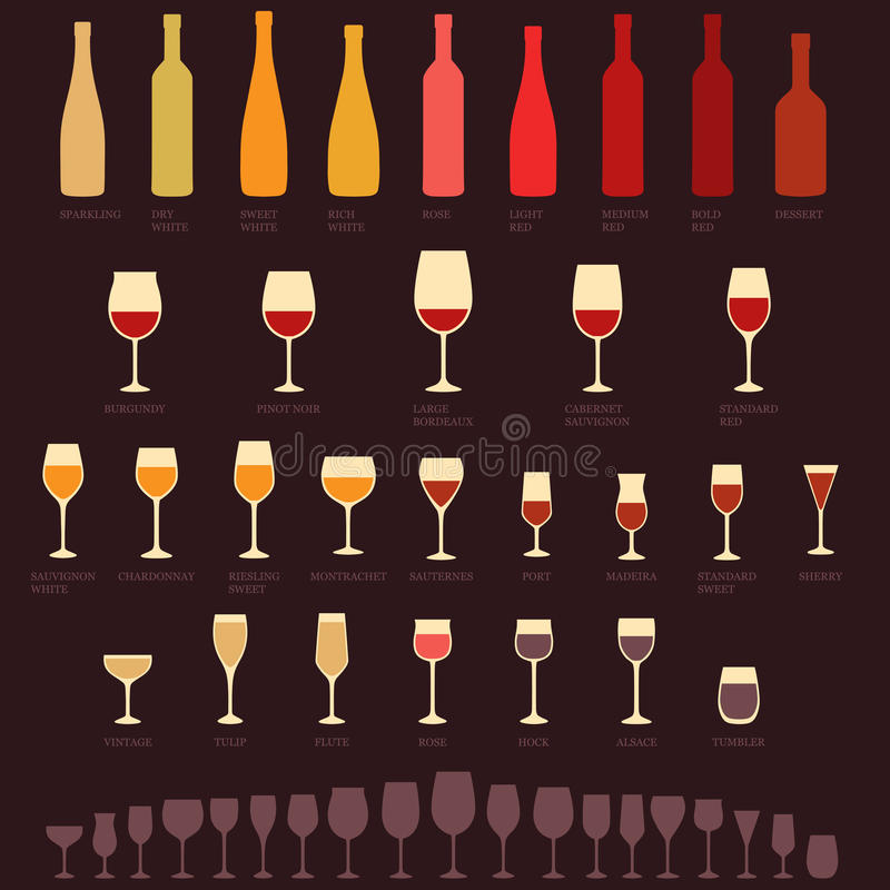 Wine glasses and bottle. Vector red and white wine glasses and bottle types, alcohol, drink isolated icons stock illustration