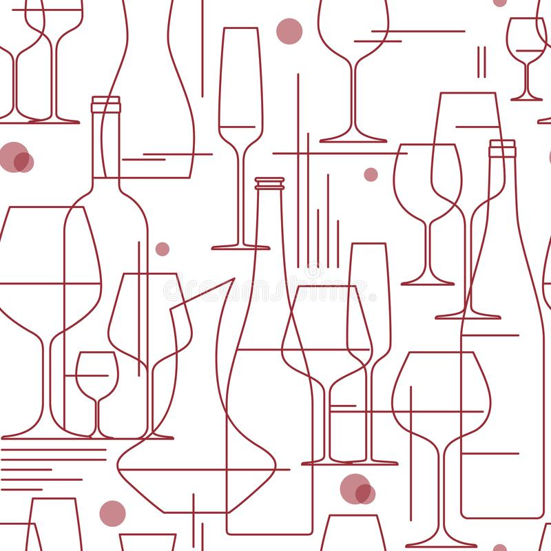 Wine glasses and bottles. Seamless background. royalty free stock images