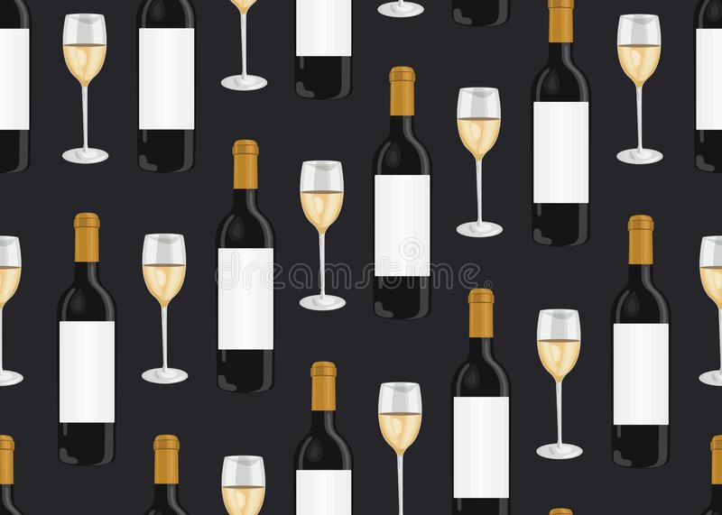 Wine glasses and bottles seamless pattern on black background, White grapes pattern background, White wine vector vector illustration