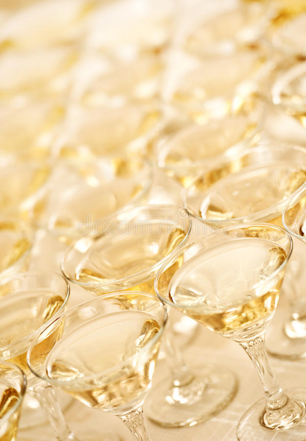 Wine Glasses With Champagne Stock Photo