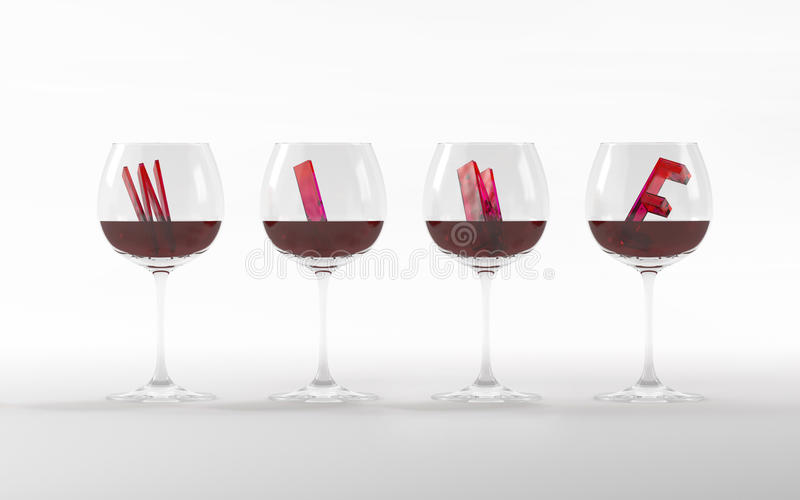 Wine glasses with crystal font 3D rendering stock image