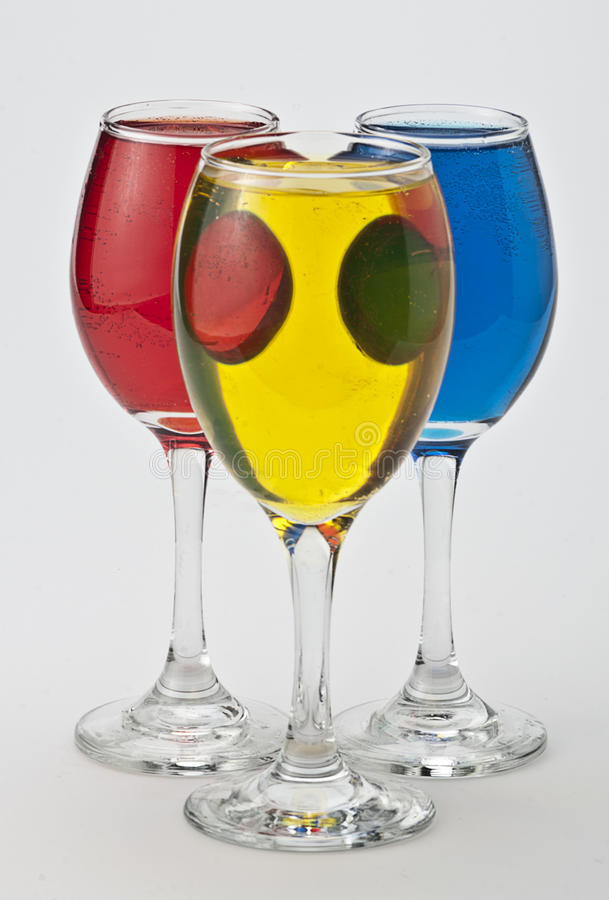 Wine glasses with different colors