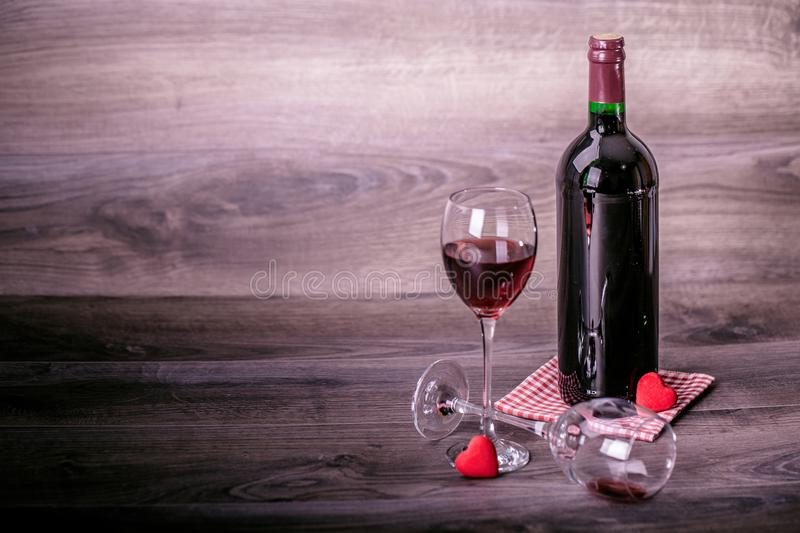 Wine, glasses and hearts stock photos