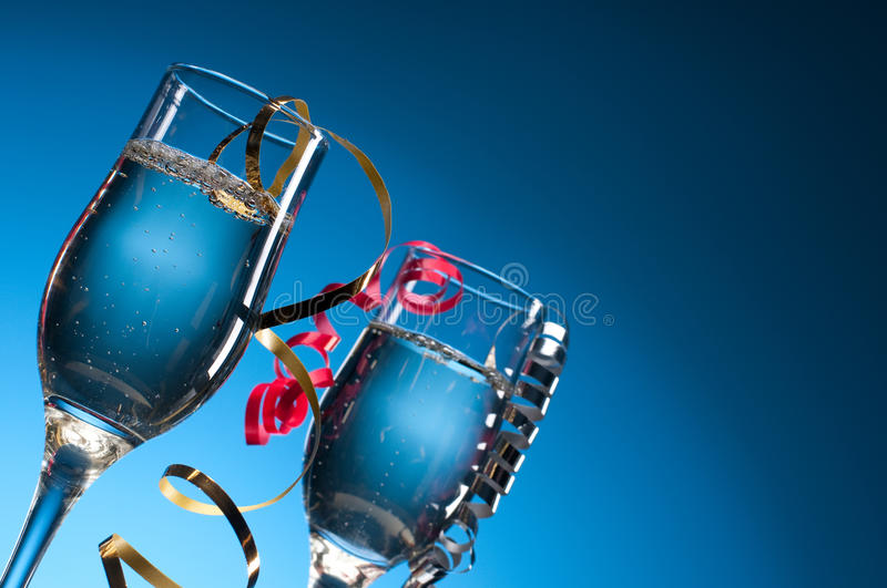 Wine Glasses With Party Streamers Stock Photo