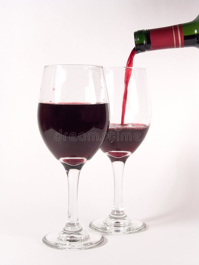 Wine Glasses Pouring stock photo
