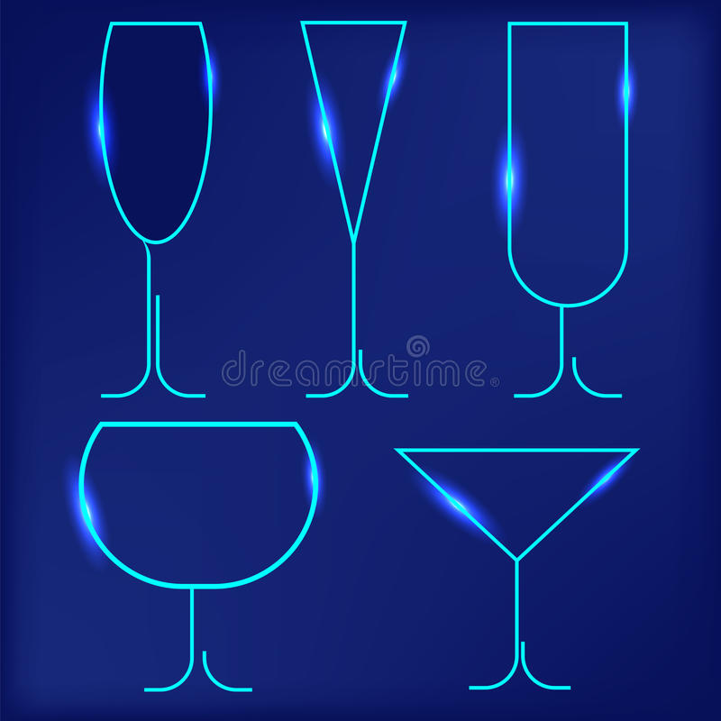 Wine Glasses. Set of Different Wine Glasses on Blue Background stock illustration
