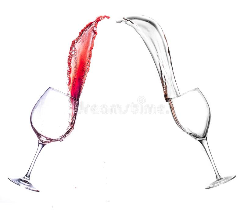 Wine glasses splash stock photos
