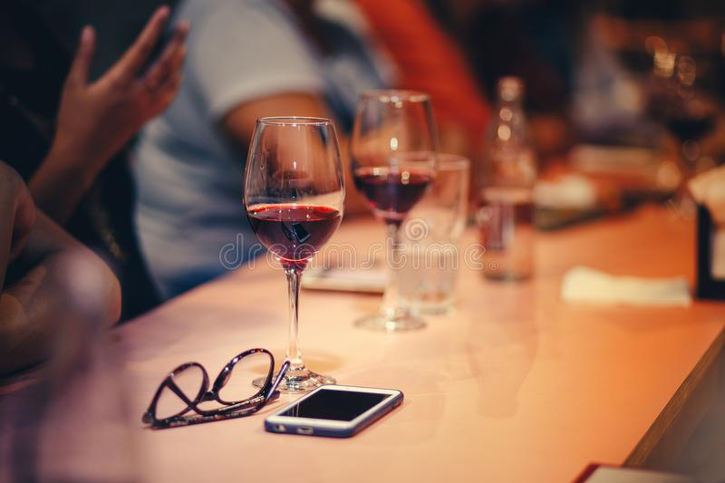 Wine Glasses On Table stock photo