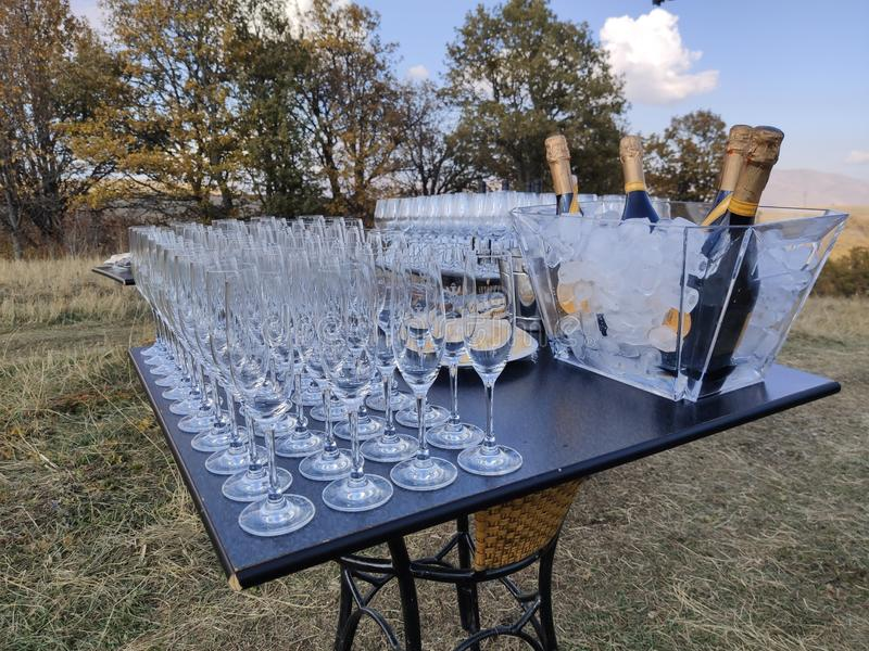 Wine glasses and the wine on a table at a wine tasting in Tsakhkadzor, Armenia stock images