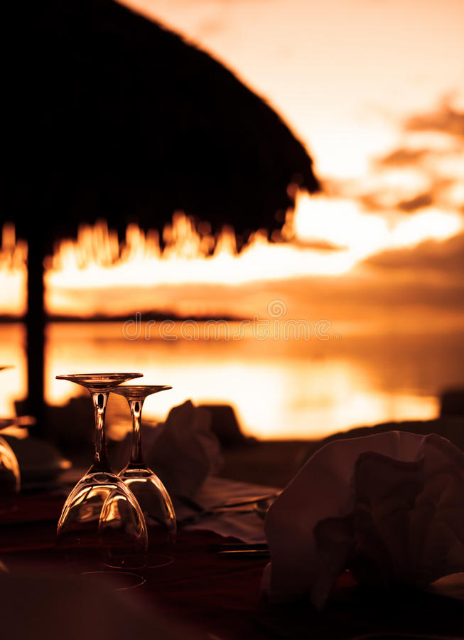 Download Wine Glasses And Tropical Beach Sunset Stock Image - Image of yellow, night: 11050663
