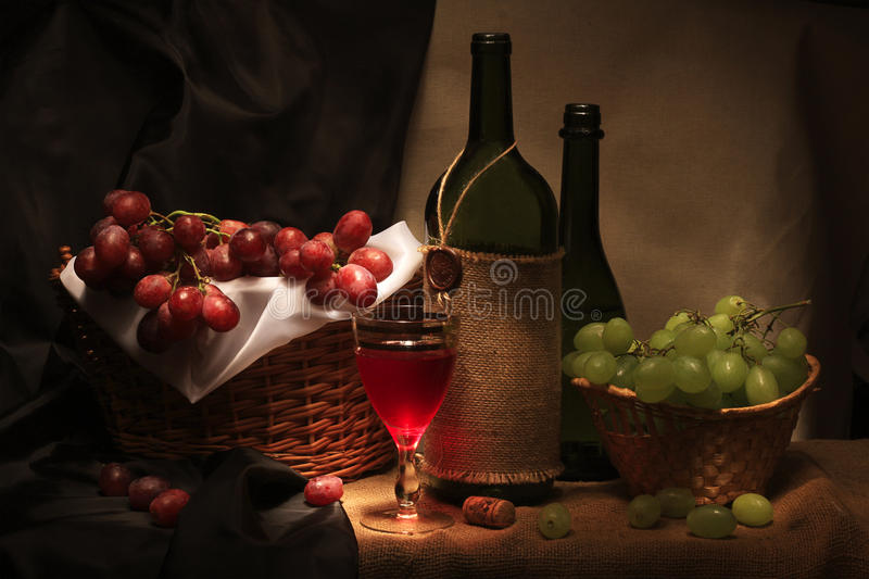 Wine and grape royalty free stock photography