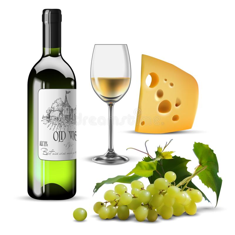 Wine and grape. A bottle and a glass of white wine, a bunch of grapes and a slice of cheese. 3D vector. High detailed realistic. Bottle and transparent glass of royalty free illustration