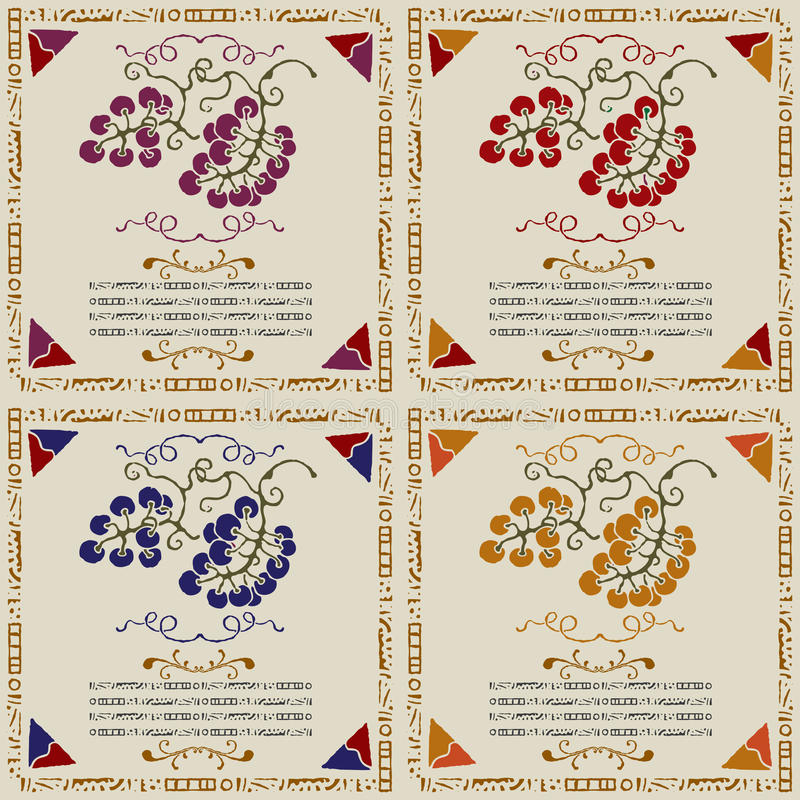 Free Wine Grape Labels By Sort Woodcut Stock Photography - 19434902