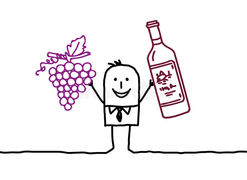 Download Wine & grapes stock vector. Image of winemaker, personnage - 11052958