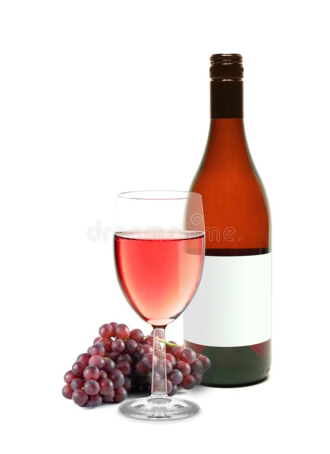 Wine and grapes. Image of wine and grapes over white royalty free stock photos