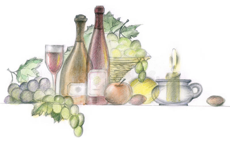 Download Wine and grapes stock illustration. Illustration of healthy - 15407651