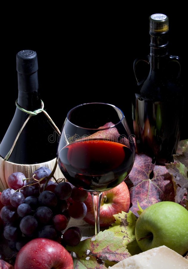 Download Wine and Grapes stock photo. Image of clump, italy, cheese - 3511686