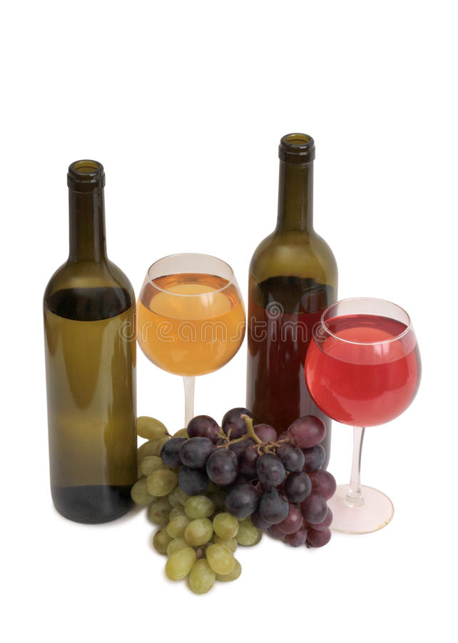 Wine and grapes eight stock photo