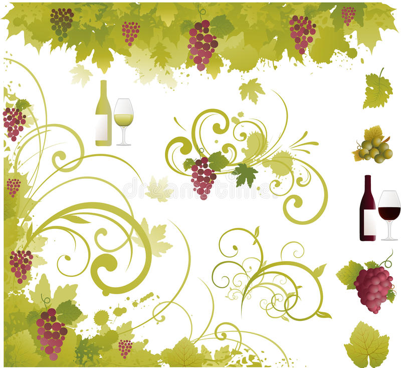 Wine grapes elements. Wine grapes element ornaments, vector illustration royalty free illustration