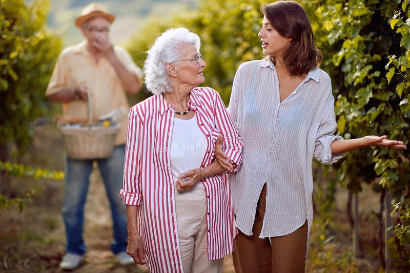 Wine and grapes. Family tradition. Harvesting grapes. Smiling mother and daughter on vineyard stock image