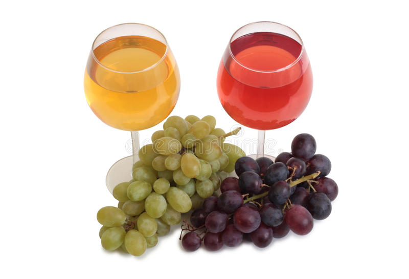 Wine and grapes two stock photography