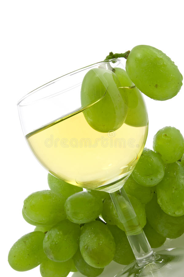 Wine And Green Grapes Royalty Free Stock Image