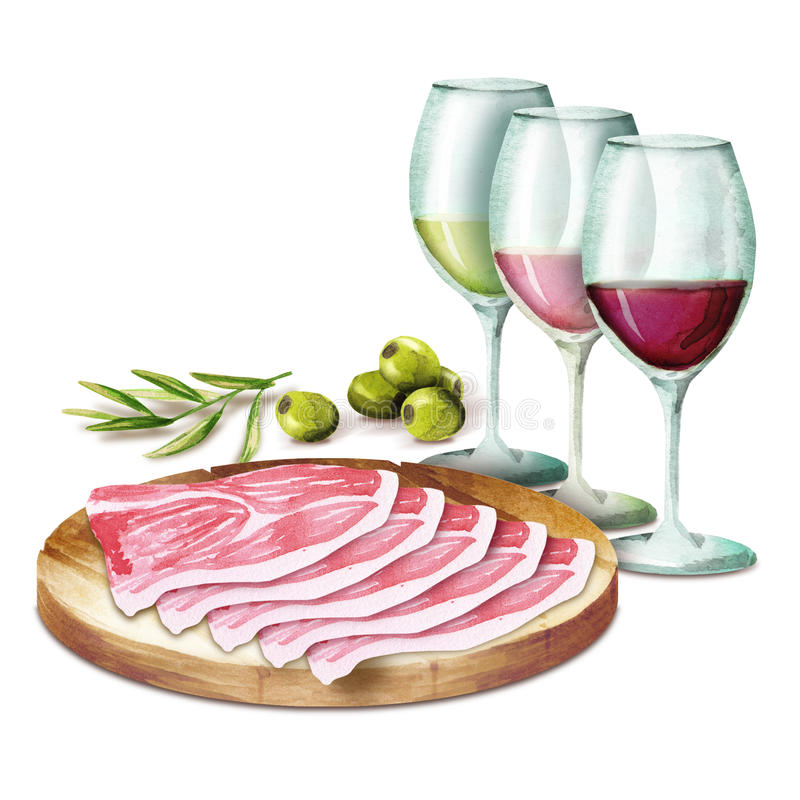 Wine and hamon on the platter. stock photos