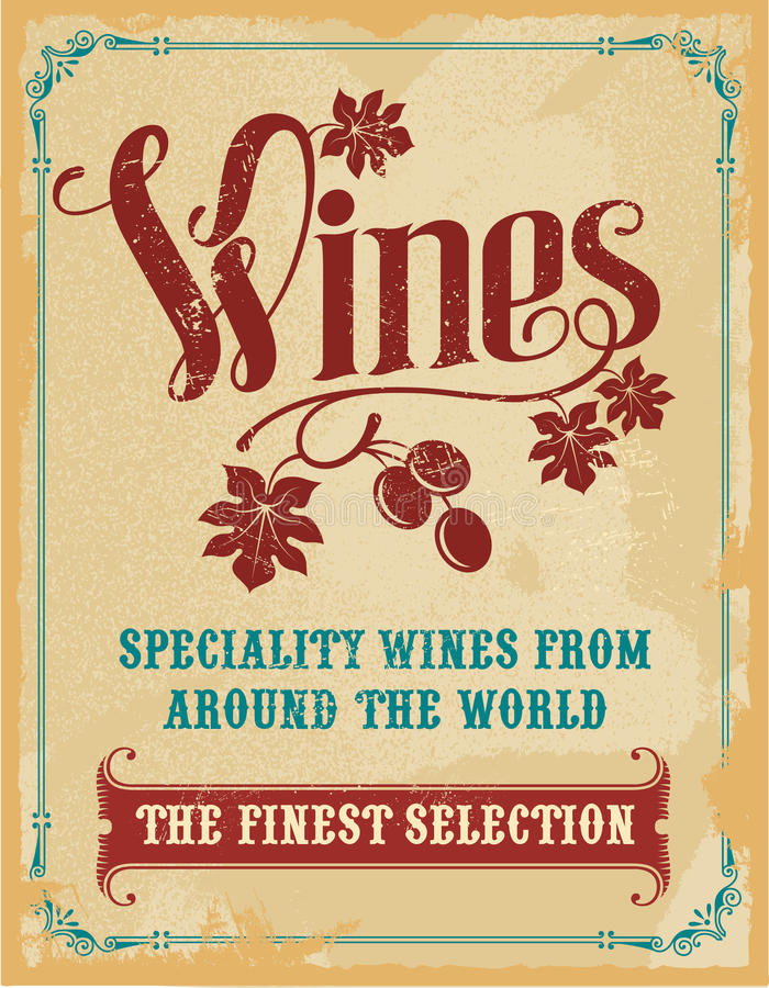 Wine hand lettering vintage sign stock photos