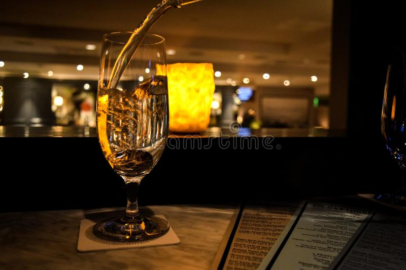 Wine at the Hawthorne. Inside The Hawthorne, a prominent lounge inside a historic hotel royalty free stock photo