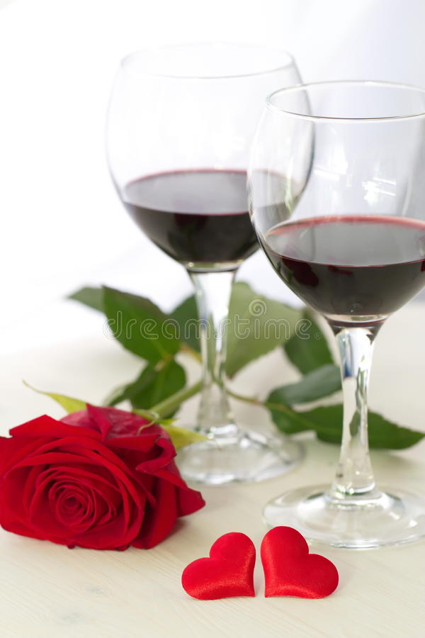 Wine, heart and rose stock photo